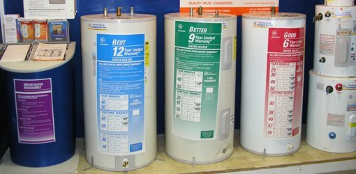 Hot water heaters for sale in store