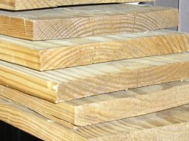 Stack of pine boards.
