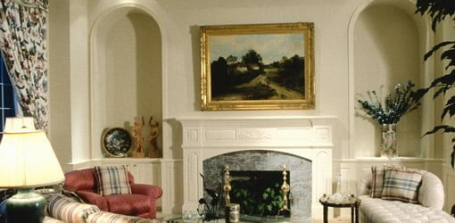 Painting hung over mantel