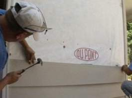 Nailing up fiber cement siding on an exterior wall