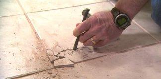 Removing cracked floor tile