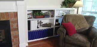 Completed DIY built-in bookcase.