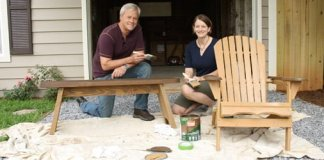Danny Lipford and Julie Day Jones staining wood furniture.
