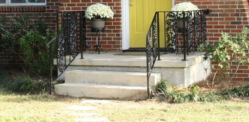 How To Repair And Paint Metal Wrought Iron Handrails Today S | Loose Railing In Concrete | Stairs | Concrete Steps | Cement | Aluminum | Stair Stringers