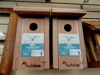 Bluebird nest boxes for sale in a store.