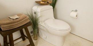Toilet in bathroom.