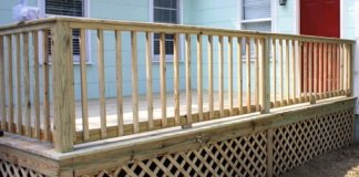 Completed wood deck railing.