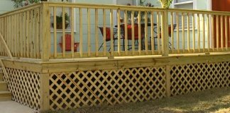 Lattice under skirting around a wood deck.