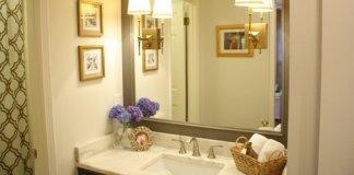 Bathroom sink top and mirror.