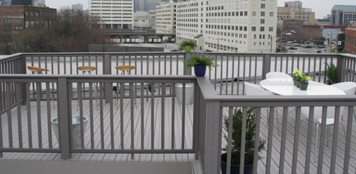Completed rooftop composite deck on top of building in Atlanta.