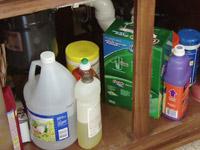 Household chemicals under sink