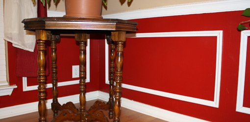 Finished faux wall wainscoting.