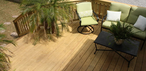 Finished and furnished First Time Homeowner deck.