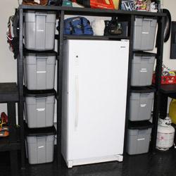 DIY plastic storage container rack.