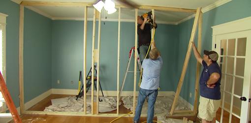 Framing up the new interior wall.