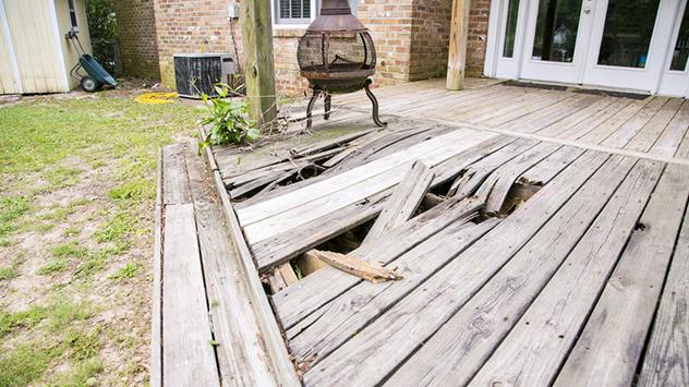 damaged deck boards