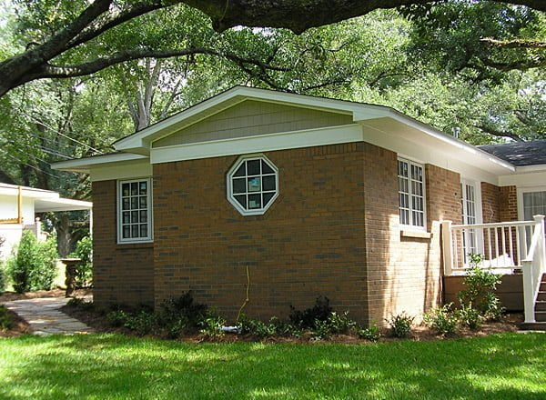 The exterior and landscaping