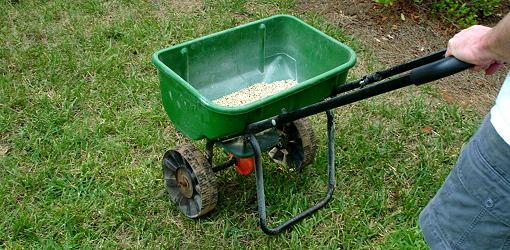 Fertilizer spreader applying fertilizer to lawn.