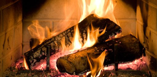 Fire burning in fireplace