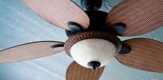 Padding ceiling fan for cooling a home during the summertime