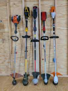 Right to left: Stihl, Toro, Troy-Bilt, DeWalt, Husqvarna Gas for comparison.