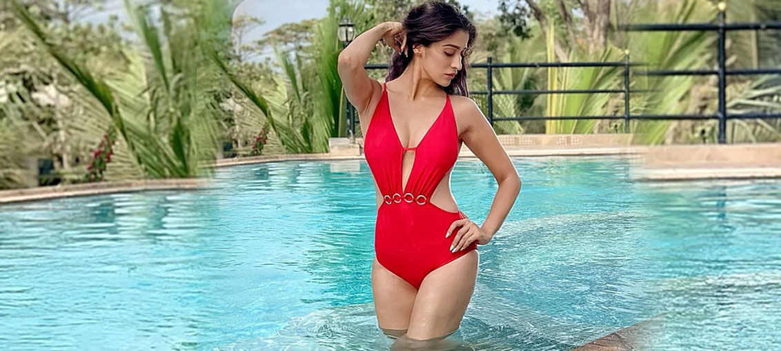 Hot Actress Raai Laxmi Red Bikini Photos Stills