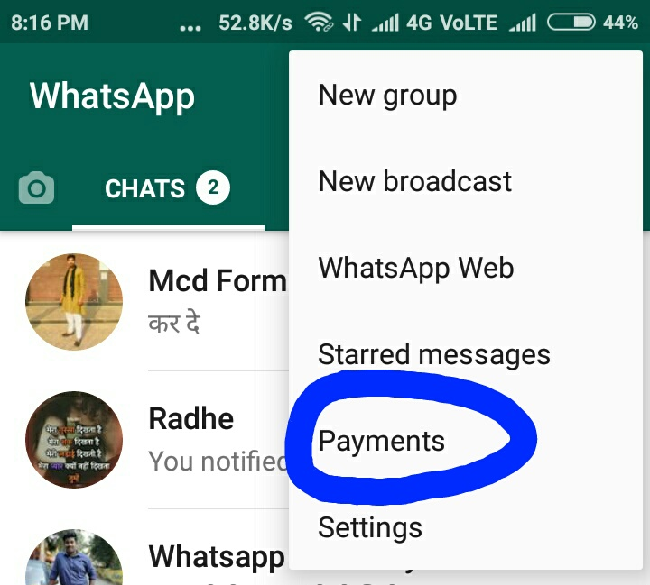 WhatsApp Payments 2020 whatsapp payment how in india option show in three tick