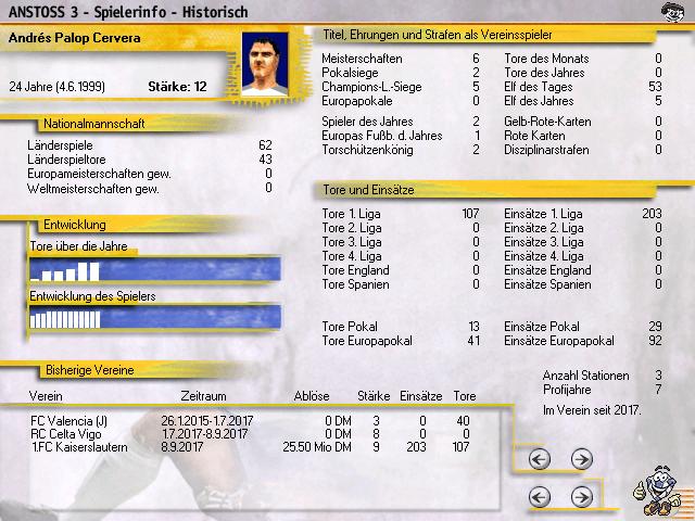 Anstoss 3 historische Spielerinfo