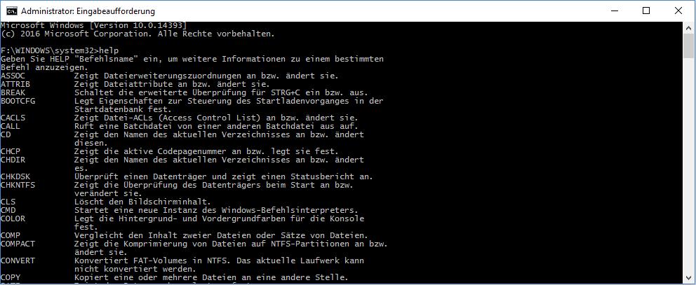cmd help list