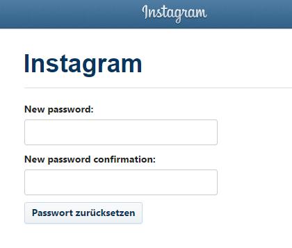 instagram neues passwort