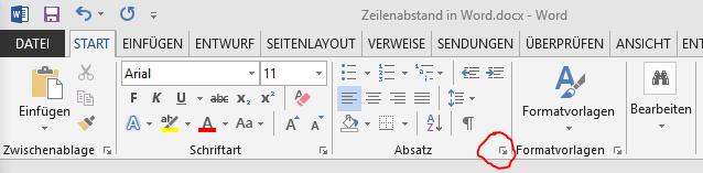 word absatz