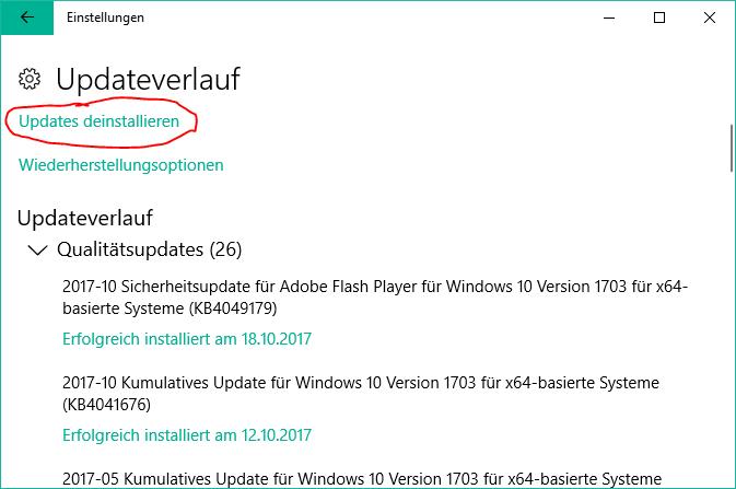 windows 10 updateverlauf