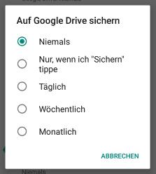 whatsapp google drive automatisch sichern