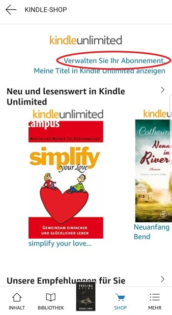amazon kindle unlimited kündigen kindle lese app
