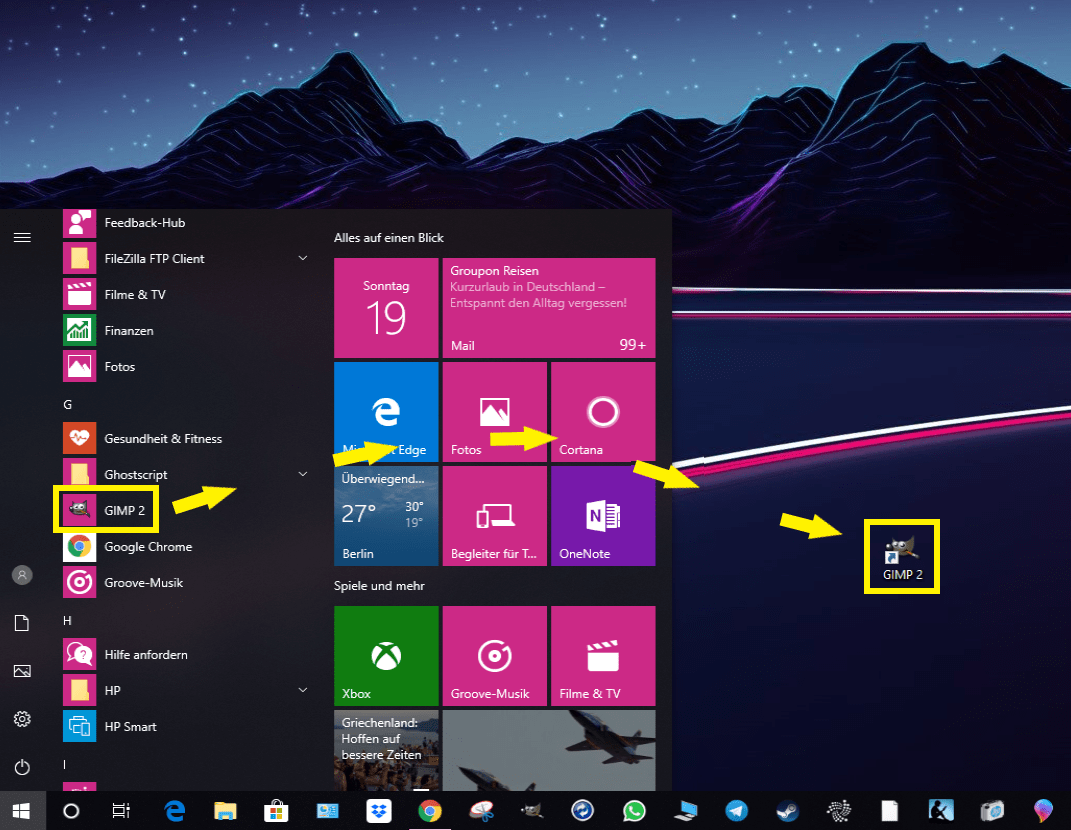 windows 10 apps auf desktop