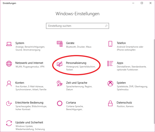 windows 10 einstellungen