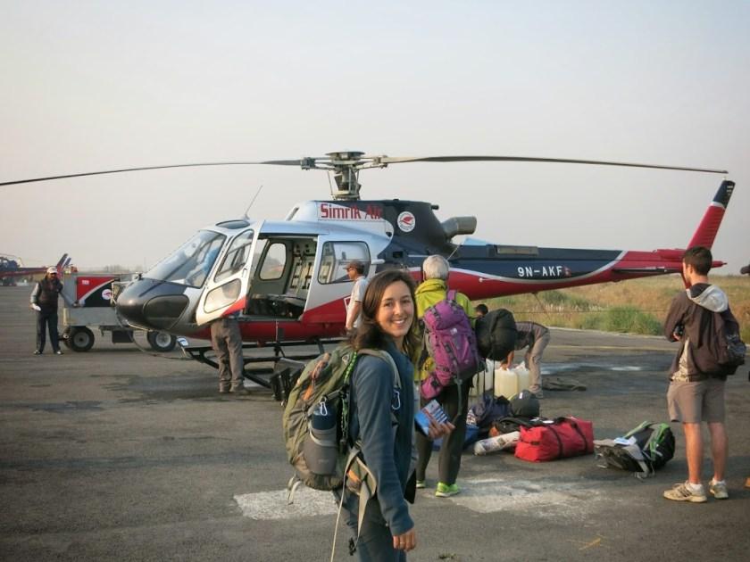 Weltreise Helikopter Nepal Himalaya Rundflug