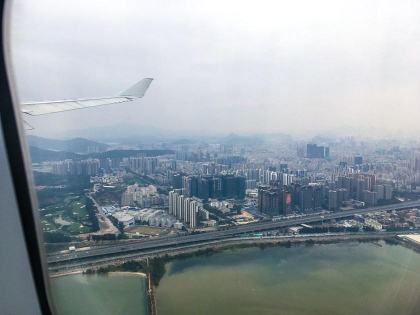 shenzhen china flug aussicht view skyscraper baustellen