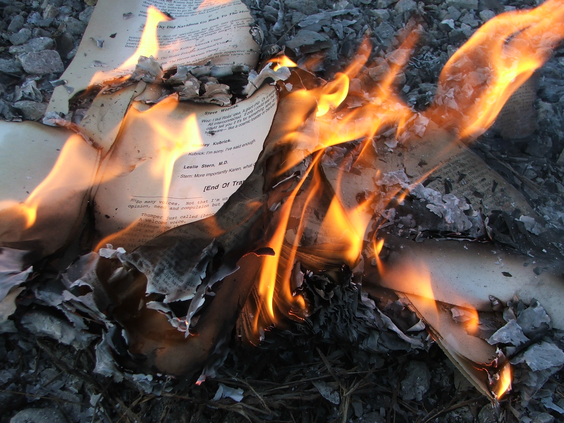 Book pages burning.
