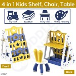 4 In 1 Kids Toy Storage Bookshelf Chair Dining Desk Table