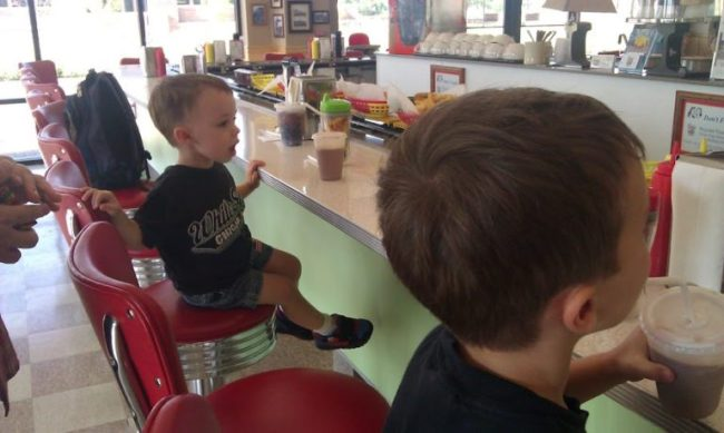 2Toots Grill - boys & train - Toddling Around Chicagoland