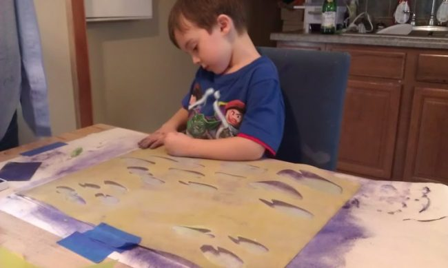 Cooper making art - Toddling Around Chicagoland