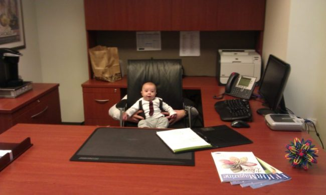 Campbell in office - Toddling Around Chicagoland