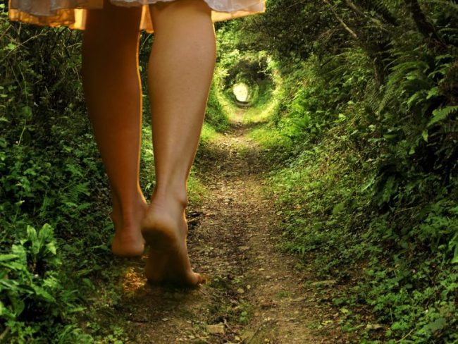 Girl walking down path - Alice in Wonderland