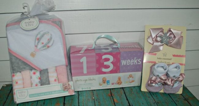 Baby towel set, age blocks, & shoe set from Marshall's
