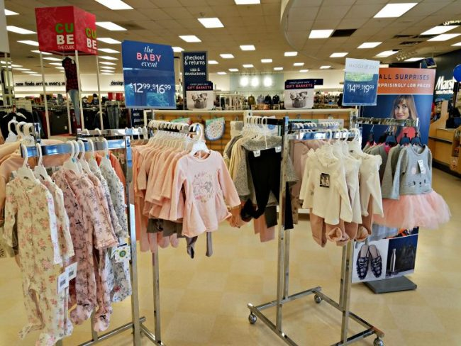 Baby outfits on display at Marshall's