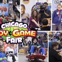 Collage of photos from the Chicago Toy & Game Fair