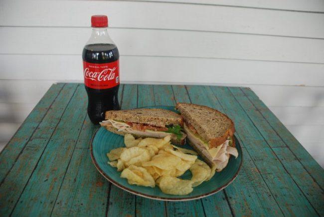 Sandwich, side, and Coke