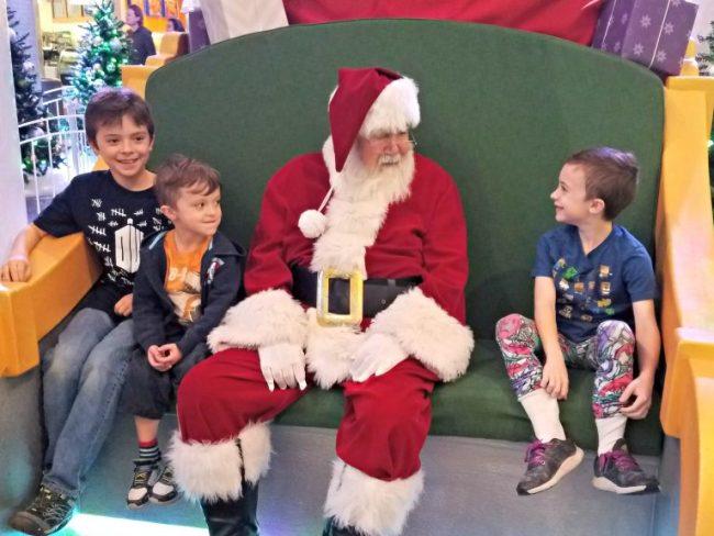 Santa with kids at Santa HQ