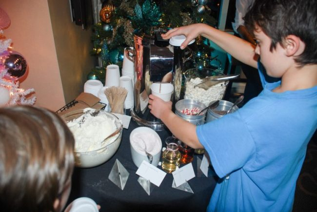 Hot chocolate bar in the Santa Suite at Swissotel Chicago